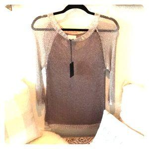NWT Greylin metallic mesh 3/4 sleeve top